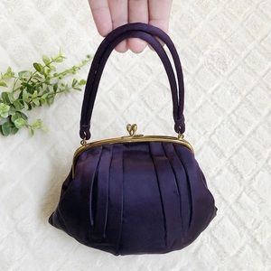VTG Pleated Satin Mini Hand Bag Deep Purple